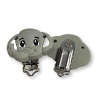 Pinza chupetero silicona 50x42 mm- Elefante trompita gris claro