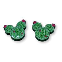 Aplique pegar plexy raton cactus verde glitter 19x17 mm  - 2 uds