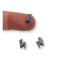Colgante mini rayo de plexy negro glitter 10 mm