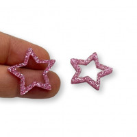 Plexy rosa glitter - Colgante y entrepieza estrella hueca 20 mm, int 1.5 mm