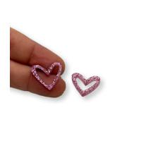 Plexy rosa glitter - Colgante corazon hueco 16x17.5 mm, int 1.2 mm