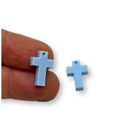 Plexy azul pastel - Colgante cruz 15x10 mm, int 1.2 mm