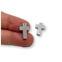 Plexy plateado - Colgante cruz 15x10 mm, int 1.2 mm