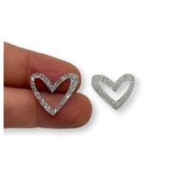 Plexy plata glitter - Colgante corazon hueco 16x17.5 mm, int 1.2 mm