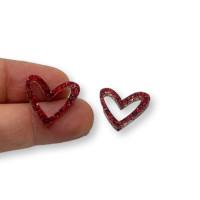 Plexy rojo glitter - Colgante corazon hueco 16x17.5 mm, int 1.2 mm