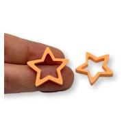 Plexy naranja pastel - Colgante y entrepieza estrella hueca 20 mm, int 1.5 mm