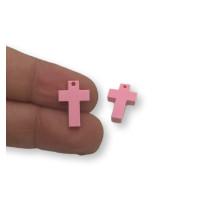 Plexy rosa pastel - Colgante cruz 15x10 mm, int 1.2 mm