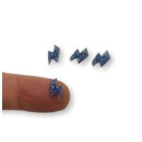 Colgante mini rayo de plexy azul glitter 10 mm