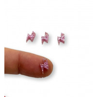 Colgante mini rayo de plexy rosa glitter 10 mm