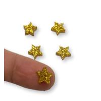 Colgante mini estrella de plexy dorado glitter  7 mm