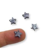 Colgante mini estrella de plexy negro glitter  7 mm