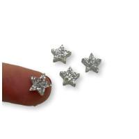 Colgante mini estrella de plexy plata glitter  7 mm