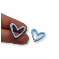 Plexy azul pastel - Colgante corazon hueco 16x17.5 mm, int 1.2 mm