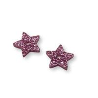 Plexy rosa glitter - Estrella 15 mm con taladro 1.5mm al centro