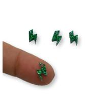 Colgante mini rayo de plexy verde glitter 10 mm