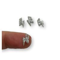 Colgante mini rayo de plexy plata glitter 10 mm