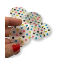 Colgante moneda de resina y puntos color 35 mm
