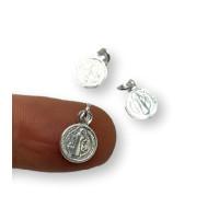 Colgante Plata de Ley - Mini medalla virgen 8 mm