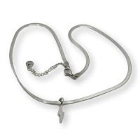 Rayo - Gargantilla choker cadena plana de acero plateado 40+5 cm extendedora