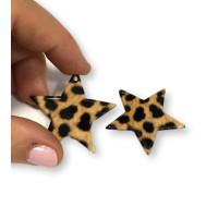 Colgante estrella leopardo de resina 37x35 mm - 1 unidad