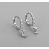 Aros 10 mm con lunas circonitas blancas  - Pendientes de plata de ley ( 1 par)