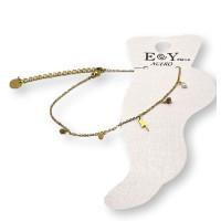 Rayo dorado y piedritas -  Tobillera cadena plana de Acero Inoxidable 23 cm + 5 cm extendedora