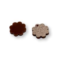 Plexy marron glitter - Colgante mini flor 15 mm - 1 unidad