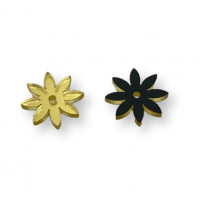 Plexy oro espejo - Colgante flor petalos cortos  18 mm, int 1.5 mm
