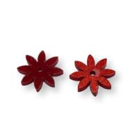 Plexy rojo glitter - Colgante flor petalos cortos  18 mm, int 1.5 mm