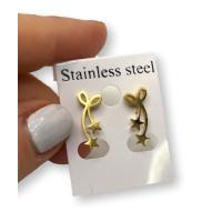 Lazo con estrellas 17 mm - Pendientes acero inoxidable dorado - 1 par