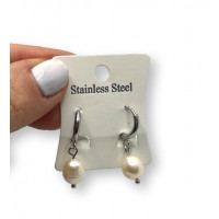 Aros 10 mm con perla oval - Pendiente acero inox plateado (1 par)