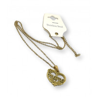 Corazon mama floral - Gargantilla fina y corazon de 25 mm de acero dorado 40 cm + 5 cm extendedora