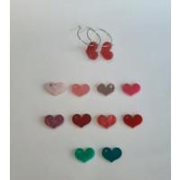Pendientes aros acero plateado 25mm y corazones chatos ( escoge color) ( 1 par)