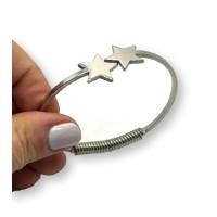 Pulsera doble estrella acero plateado de caña  con muelle ajustable