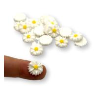10 uds - Aplique pegar margaritas de resina 13 mm - Blanca y centro amarillo