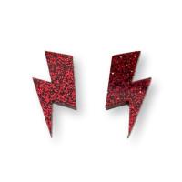 Aplique metacrilato plexy rayo grande 35x17 mm - Rojo glitter- 2 uds