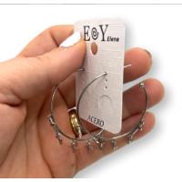 Aros abiertos 37 mm con 5 cruces colgantes- Pendiente acero plateado (1 par)
