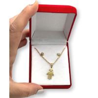 Mano fatima hamsa y circonitas- Conjunto collar y pendientes de acero dorado en cajita roja de regalo