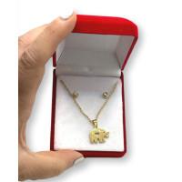 Elefante y circonitas- Conjunto collar y pendientes de acero dorado en cajita roja de regalo