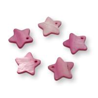 Colgante estrella de nacar rosa 18 mm - 5 uds