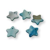 Colgante estrella de nacar azul 18 mm - 5 uds