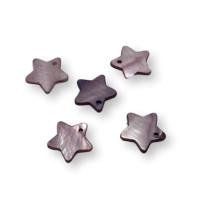 Colgante estrella de nacar lila 18 mm - 5 uds