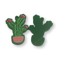 Plexy verde glitter - Colgante cactus en maceta 35x25 mm