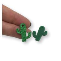 Plexy verde glitter - Colgante cactus 22x18 mm