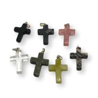 Colgante cruz 22x17 mm Gema natural  ( escoge color)