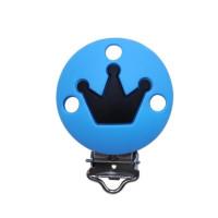 Pinza chupetero silicona redonda Corona 35x52 mm- Azul claro/ negro