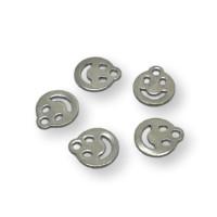 Carita feliz smiley  - Colgante acero inoxidable plateado 11.5x10 mm
