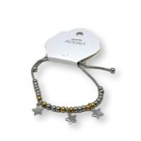 Pulsera de cadena serpiente acero ajustable con estrellas y bolitas de acero dorado