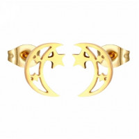 Media luna con estrellas 10 mm- Pareja pendientes acero inoxidable dorado