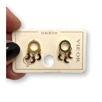 Circulos 8 mm con 3 mini lunas - Pendientes de acero dorado (1 par)